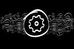 Значок Cogwheel смешал в облаке значка изолированном на предпосылке Стоковое Изображение RF