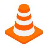 Значок 3d оранжевого конуса опасности дороги равновеликий Стоковое фото RF