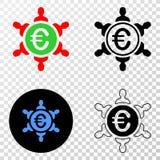 Значок EPS вектора соединения людей евро с версией контура иллюстрация штока