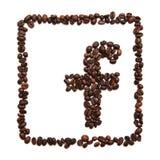 Значок Facebook на белой предпосылке Стоковое Фото