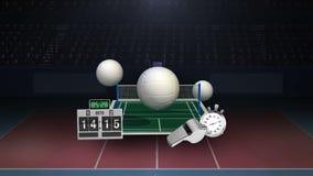 Значок Floting различный волейбола, беря суд на острие, сеть, свисток олимпийско иллюстрация вектора