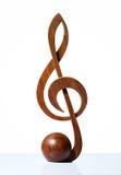 значок G-ключа высекаенный от древесины Стоковые Изображения