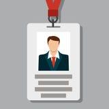 Значок, ID карточки пропуска в современном плоском стиле Стоковое Изображение RF