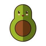 Значок kawaii свежего овоща авокадоа изолированный стилем иллюстрация вектора