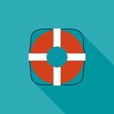 Значок Lifebuoy плоский с длинной тенью Стоковые Изображения RF