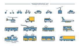 Значок Lineart установил с земным переходом, авиацией и транспортом воды на белой предпосылке Собрание с велосипедом, шиной Стоковое Изображение RF