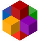 Значок multicolor равновеликих кубов Логотип стога куба Стоковое фото RF