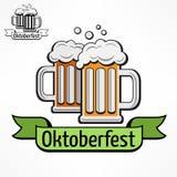 Значок Oktoberfest с лентой Иллюстрация вектора