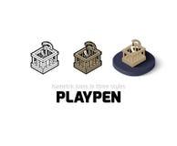 Значок Playpen в различном стиле иллюстрация вектора