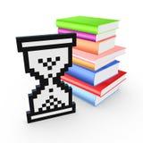 Значок Sandglass и стог красочных книг. Стоковые Изображения RF