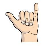 Значок Shaka повисните свободные знак руки и символ, руку Shaka, символ shaka Стоковая Фотография RF