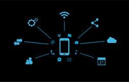 Значок Smartphone с социальными средствами массовой информации Стоковое Изображение