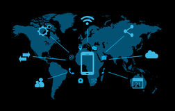 Значок Smartphone с социальными средствами массовой информации Стоковые Изображения
