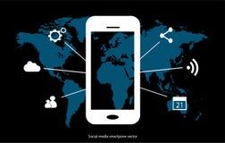 Значок Smartphone с социальными средствами массовой информации Стоковое фото RF