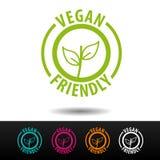 Значок Vegan дружелюбный, логотип, значок Плоская иллюстрация вектора на белой предпосылке Может быть используемая деловая компан стоковая фотография