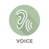 Значок voiceover или команды голосом с изображениями звуковой войны бесплатная иллюстрация