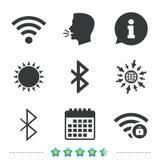 Значок Wifi и Bluetooth Беспроволочная передвижная сеть иллюстрация штока