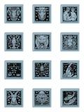 зодиак голубой кнопки установленный иллюстрация вектора