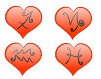 зодиак иконы сердец Стоковое Изображение