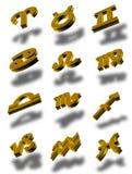 зодиак иконы 01 3d установленный Стоковое Изображение