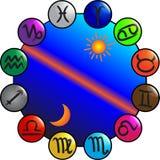 зодиак колеса жизни Иллюстрация вектора