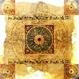 зодиак предпосылки астрологии grungy иллюстрация штока