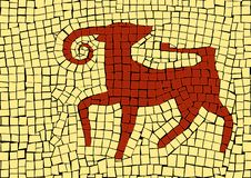 Зодиак Aries подписывает внутри мозаику иллюстрация штока