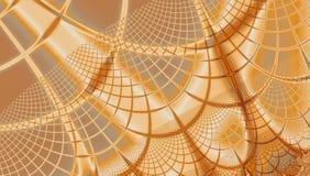 Золотая бежевая картина графиков предпосылки сети фрактали паука в сияющих цветах иллюстрация вектора