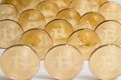 Золотая валюта Bitcoin цифровая, финансовый сектор Стоковые Изображения