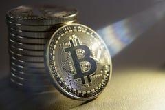Золотая валюта Bitcoin цифровая Стоковая Фотография