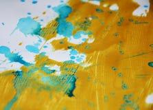 Золотая голубая абстрактная предпосылка краски акварели Стоковое фото RF