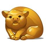 Золотая диаграмма свиньи Китайский символ гороскопа Восточная астрология Скульптура изолированная на белой предпосылке вектор иллюстрация штока