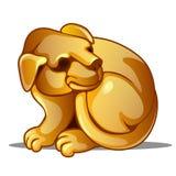 Золотая диаграмма собаки Китайский символ гороскопа Восточная астрология Скульптура изолированная на белой предпосылке вектор бесплатная иллюстрация