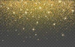 Золотая искра яркого блеска на прозрачной предпосылке Предпосылка золота живая со светами блеска также вектор иллюстрации притяжк иллюстрация вектора