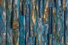 Золотая и голубая деревянная краска стоковая фотография rf