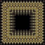 Золотая картина орнамента на черной предпосылке стоковые фото