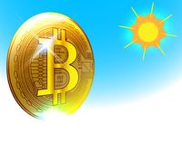 Золотая концепция финансов имущества спасительной гавани Bitcoin, illustra вектора бесплатная иллюстрация