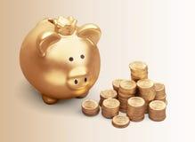 Золотая копилка с деньгами на предпосылке Стоковые Изображения RF