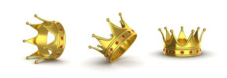 Золотая крона в различных положениях на белой предпосылке col Стоковое Изображение