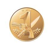 золотая медаль монетки Стоковая Фотография