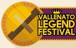 Золотая медаль с Guacharaca и вилка для фестиваля сказания Vallenato, иллюстрации вектора иллюстрация вектора