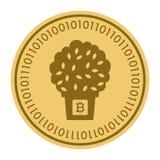 Золотая монетка с деревом в знаке бака Деньги и символ Cryptocurrency финансов Иллюстрация вектора изолированная на белизне Иллюстрация вектора