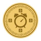 Золотая монетка с знаком будильника Деньги и символ Cryptocurrency финансов Иллюстрация вектора изолированная на белизне Иллюстрация штока