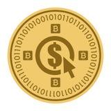 Золотая монетка с знаком валюты доллара Деньги и символ Cryptocurrency финансов Иллюстрация вектора изолированная на белизне Бесплатная Иллюстрация