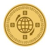 Золотая монетка с знаком глобуса Деньги и символ Cryptocurrency финансов Иллюстрация вектора изолированная на белой предпосылке Иллюстрация штока