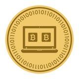 Золотая монетка с знаком ПК Деньги и символ Cryptocurrency финансов Иллюстрация вектора изолированная на белой предпосылке Иллюстрация штока