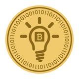 Золотая монетка с знаком электрической лампочки Деньги и символ Cryptocurrency финансов Иллюстрация вектора изолированная на бели Бесплатная Иллюстрация