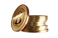 Золотая монетка с знаком bitcoin Деньги и символ финансов белизна cogwheel предпосылки изолированная иллюстрацией Валюта цифров Стоковое Изображение RF