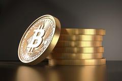 Золотая монетка с знаком bitcoin Деньги и символ финансов Иллюстрация на предпосылке темной черноты Валюта цифров Стоковая Фотография RF