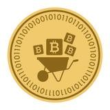 Золотая монетка с знаком bitcoin Деньги и символ Cryptocurrency финансов Иллюстрация вектора изолированная на белой предпосылке Бесплатная Иллюстрация